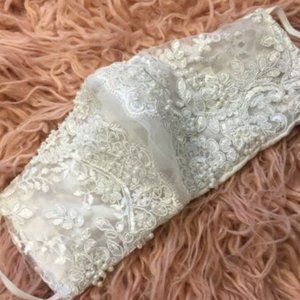 Bead and Lace Embellished Face Mask